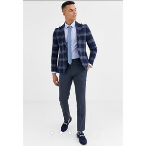 Moss London slim fit suit jacket in blue check
